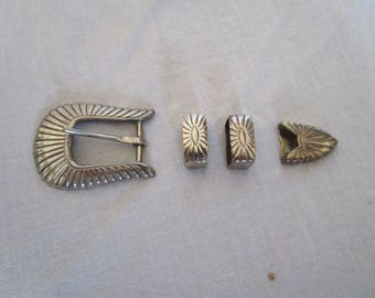 Vintage Native American Sterling Silver Western Belt Santa Fe For making Belt