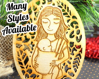 Babywearing Ornament - Christmas Ornament - Mommy and me - Woven Wrap Ring Sling Carrier