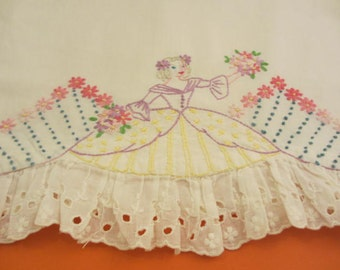 vintage upcycled pillow case dress hand embroidered lady with a big skirt