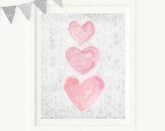 Pink and Gray Nursery Decor, Watercolor Print, Pink and Gray Art, Pink and Gray Decor, Pink and Gray Watercolor, Pink and Gray Nursery Art