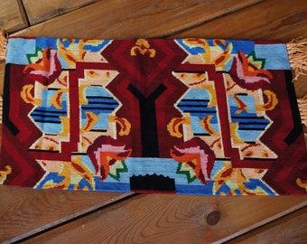 Vintage Bulgarian woven rug, primitive country textile wall hanging rug, doormat rug, tribal woven rug, colourful rug,colourful bohemian rug