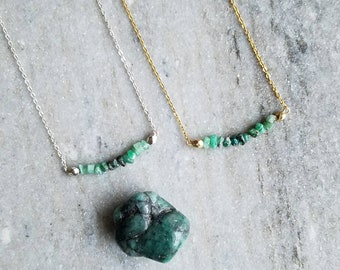 Emerald Necklace // May Birthstone Necklace // May Birthstone Jewelry // Emerald Jewelry // Crystal Necklace // Gemstone Necklace // Emerald