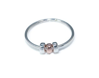 Fidget Ring | Silver Spinner Rings | Fiddle Ring | Rose Gold Silver Rings | Worry Ring | Anxiety Ring | Fidget Jewelry  Worry Bead Ring