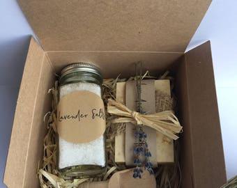 Lavender salt and Soap gift set