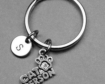 Cat Person keychain, Cat Person charm, cat Lover keychain, cat keychain, cat lover gift, personalized keychain, initial keychain, monogram