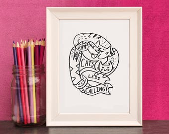 Cat Calling Print - A4 And A5 Print By Holly Mac Draws