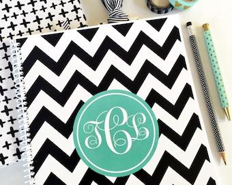 Personalized Spiral - spiral notebook - spiral - monogrammed spiral - Lined Spiral - notebook - chevron spiral