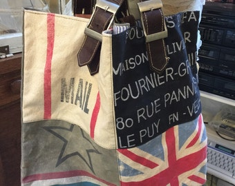 Repurposed tote bag,french mail bag material, embellished with flag, leather handles, tote bag, purse,
