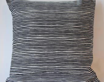 "Marimekko Decorative Pillow Cover, Double-sided, Cotton Upholstery weight. Varvunraita Pattern/ Solid Black, 16""x16"" (40x40cm)"