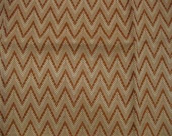 Flamestitch Zigzag Orange White Tapestry DESIGNER FABRIC SAMPLE Highland Court