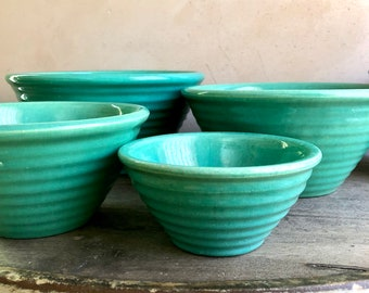Garden City Pottery RingWare Mixing Bowl Set, Ring Ware Pottery Nesting Bowls, Turquoise Blue Bowl