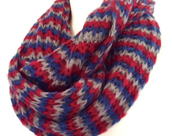 Stripe Infinity Scarf, Womens Knit Cowl Scarf, Loop Scarf, in Trio of Blue,Red and Gray