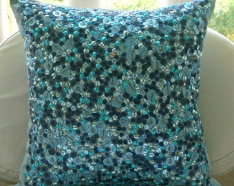 "Luxury Blue Pillow Covers, 16""x16"" Silk Pillow Covers, Square  3D Sequins Glitter Pillows Cover - Sea The Dream"