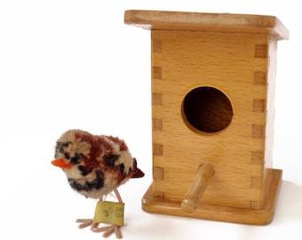 Vintage German Steiff Bird with Wooden Birdhouse