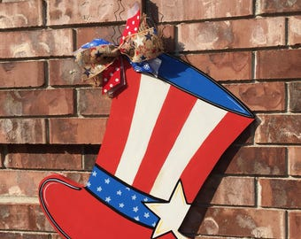 4th Of July Mason Jar Door Hanger