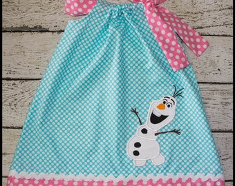 Super Cute Olaf Frozen Snowman Pillowcase style dress in Auqa polka dot and Pink