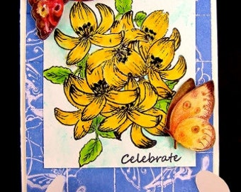 Faux Tile Floral Greeting Card, Floral Greeting Card, Celebrate Card, Celebration Card