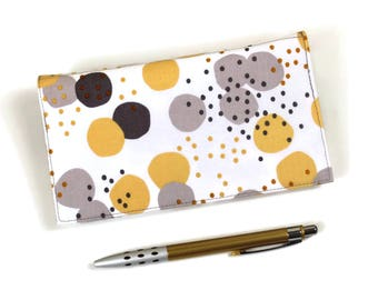 Gray and Yellow Checkbook Cover, Duplicate Checks, Pen Holder, Big Polka Dots on White Cotton Fabric, Check Book Cover, Cheque Book Cover