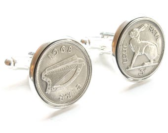 Irish Coin Cufflinks, 50th Birthday Cufflinks, 50th Birthday Ideas, 50th Birthday Gift for Men, 1968 Cufflinks, 1968 Birthday, Hare Cufflink