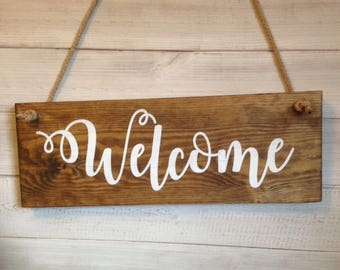 Welcome Sign/Wooden sign/wooden plaque/New home/Home sign/Wedding sign/Welcome/Rustic sign