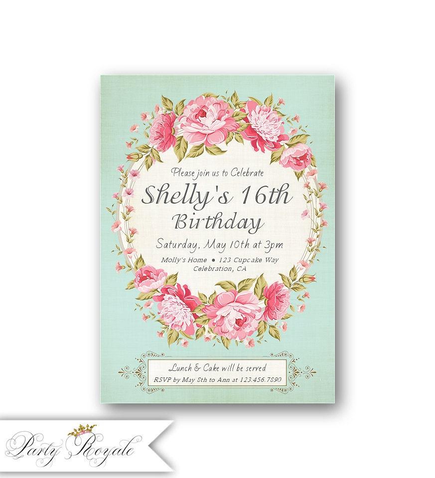 16th Birthday Invitations / Girl\'s Sweet 16 Birthday Party