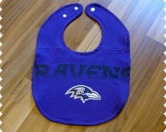SALE - Baltimore Ravens Football Baby Bib, Sports Baby Boy Gift, Recycled T-Shirt Baby Bib, Baby Shower Gift