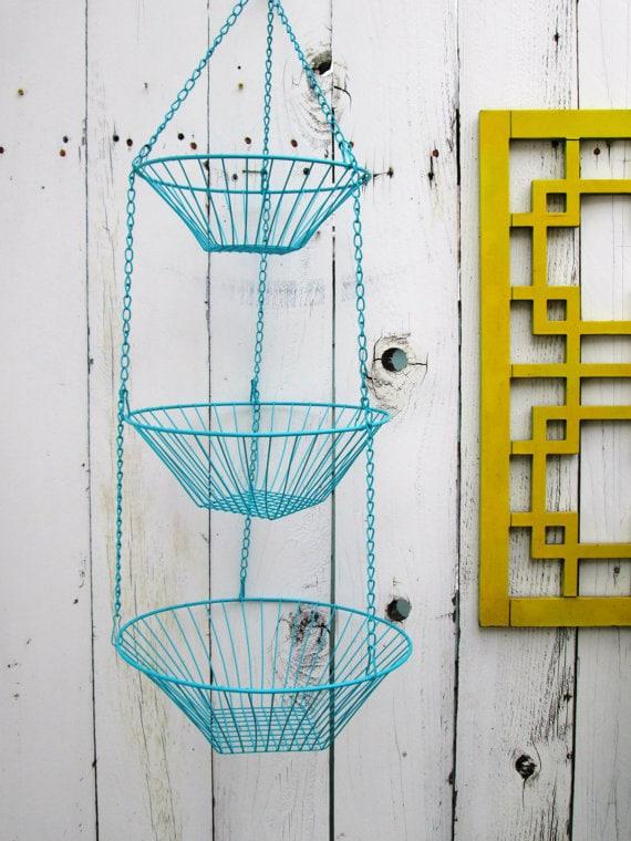 Vintage 3-Tier CUSTOM COLOR Metal Hanging Baskets Fruit