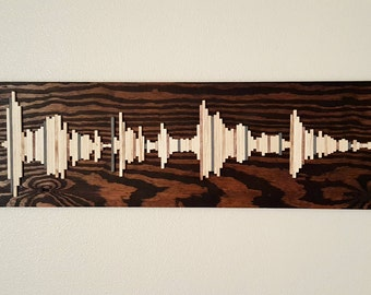 Wood Soundwave Wall Art - Wood Wall Art - Soundwave Art - Unique Gift Idea - Anniversary Gift