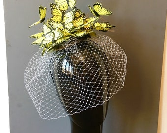 Yellow Fascinator- Butterfly Fascinator- Butterfly Headdress- Butterfly hat- Wedding fascinator -Kentucky Derby- Tea party Hat- Mad Hatter