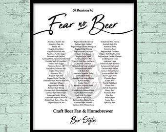 Beer, PRINTABLE Poster, Fear no Beer, Craft Beer, Homebrewer PRINTABLE, Homebrewer, Beer Styles, Modern art, Craft Beer PRINT File, Homebrew