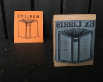 Personalized Open Book Bookplate Stamp Ex Libris Stamp with wooden holder and free stamp pad