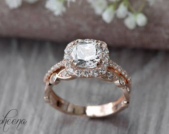 Set Of 2:Cushion Engagement Ring And Art Deco Band In 14k Rose Gold,