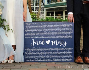 Wedding Gift, Gift for Husband and Wife, Valentines Gift, Wedding Vows, Cotton Anniversary