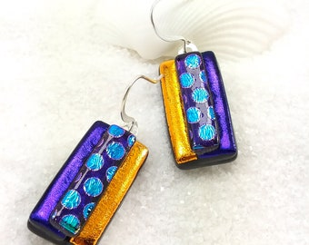 Dichroic earrings, fused glass jewelry, dichroic glass, fused glass art, purple earrings, jewelry handmade, glass jewelry, dichroic jewelry