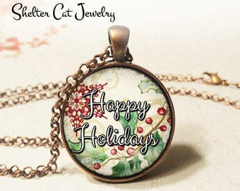 "Happy Holidays with Red Star Necklace - 1-1/4"" Circle Pendant or Key Ring - Wearable Photo Art Jewelry - Artwork, Winter, Christmas Gift"