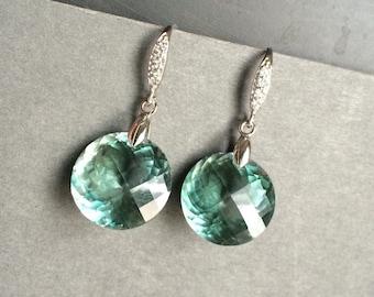 Green Amethyst earrings. 34 carats. Solid Sterling Silver Pave jewelry. Luxury Jewelry. Statement earrings. February birthstone
