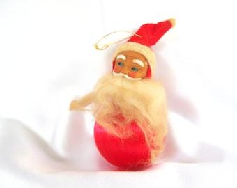 Vintage Red Satin Santa Christmas Ornament