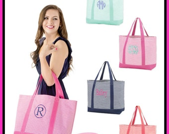 Personalized Tote Bag ~ Monogrammed Travel Bag ~ Striped Tote Bag ~ Bridesmaid Tote Bag ~ Quick shipping!