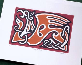 Griffin Norse Reduction Print Linoleum Block