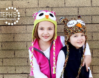 YOUTH or ADULT -- Owl Earflap Hat -- Custom Made to Order