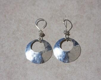 Sterling Silver Hoop Earrings,'Knotted Hoops', Hammered Sterling Silver Earrings,Circular Sterling Silver Earrings,Knotted Silver Earrings