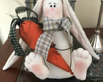 Primitive Easter Bunny with Long Ears, I'm All Ears Bunny, Handmade Easter Decoration with Carrot or Egg