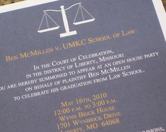 Law School Graduation Invitation, Law School Invitation, Announcement, Graduation Announcement, Lawyer, 5x7 Digital, Printed