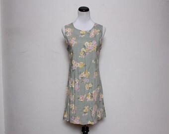 VTG 90s Green Pink Summer Mimi Dress L