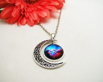 Galaxy Necklace - Blue Nebula Necklace - Nebula Necklace - Boho Crystal Necklace - Universe Necklace - Space Necklace - Galaxy Jewelry