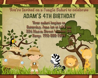 Jungle theme birthday, Safari invite, Zoo animal Birthday Invitation, safari theme birthday, safari party, zoo invitation, zoo -Digital File