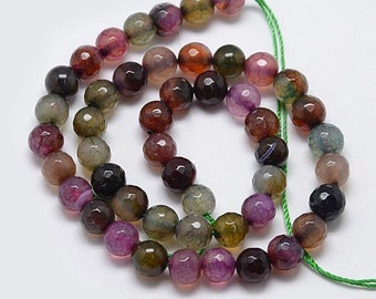 1 Strand 8mm Faceted Natural Agate Round Beads (B99b)