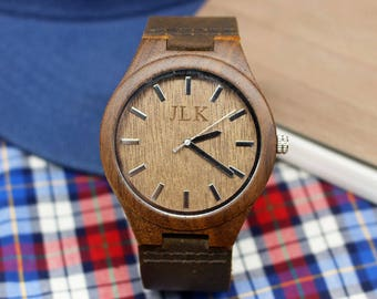 Fathers Day Gift Mens Watch Engraved Wood Watch Personalized Watch for Men Engraved Watch Wooden Watches for Men groomsmen watch Dad Gift