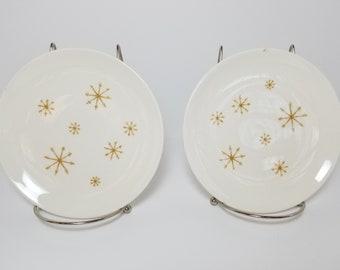 Midcentury Modern / Vintage Set of 2 Star Glow Starburst Royal Ironstone Ceramic Dessert Plates by Royal China