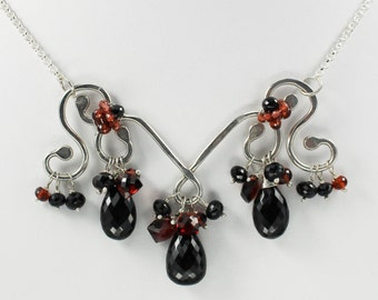 Silver Black Spinel Necklace, Black Spinel and Garnet Jewelry, Black Spinel Briolette, Garnet Briolette